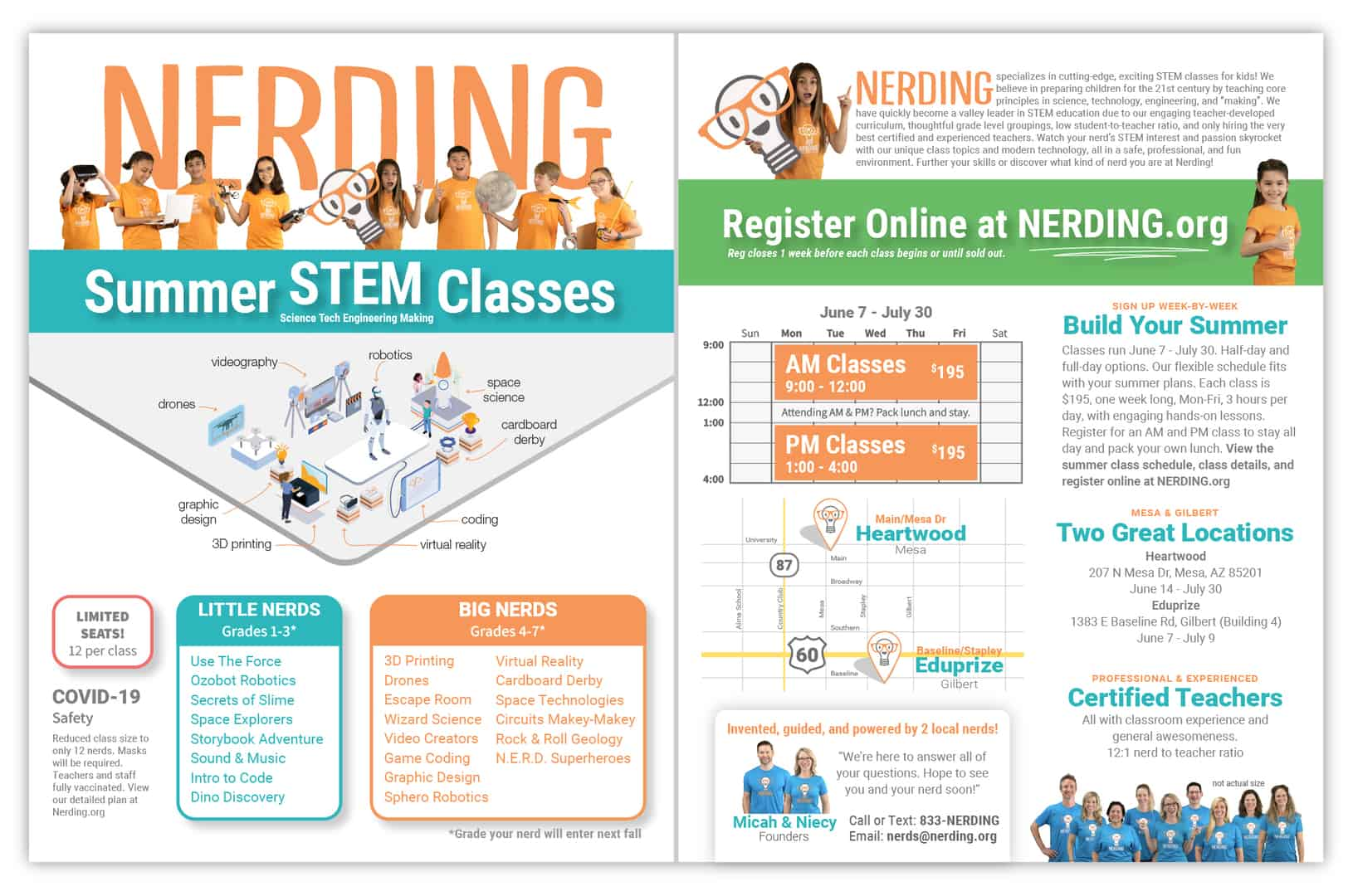 Nerding Summer 2021 In-Person Classes Promotional Flyer Front and Back